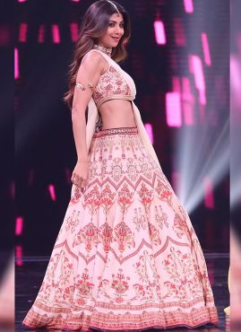 Bollywood Celebrity Shilpa Shetty Light Pink Lehenga Choli