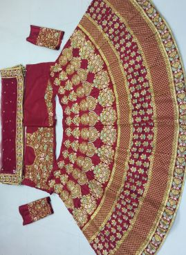 Coral Red Embroidery Bridal Special Lehenga Choli